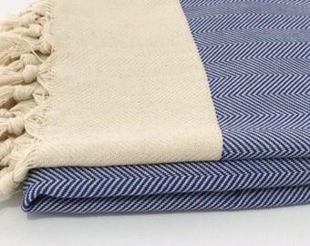 Turkish towel, blue cotton Turkish towel, beach towel, blue peshtemal, hammam towel, bath towel, handwowen towel, soft towel, herringbone