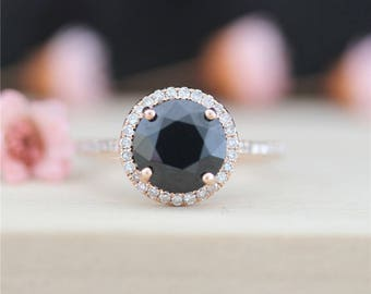 8mm Round cut Black Spinel Ring 14k Rose Gold Black Spinel Engagement Ring Diamond Ring Wedding Ring Anniversary Ring Promise Ring