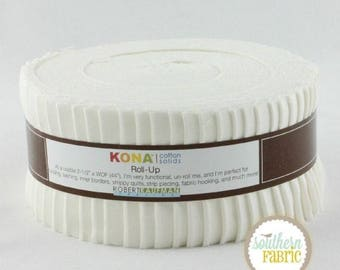 Kona Cotton Solids Roll Up - Jelly Roll - Robert Kaufman Fabrics - White Solid - Pre cuts