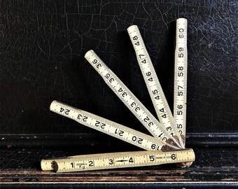 "Vintage Folding Ruler   Wood   Oxwall   72"""
