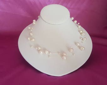 """18"""" White Freshwater Pearl Illusion Necklace"""