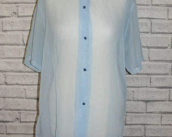 Size 16 vintage 80s short sleeve loose fit shirt super sheer baby blue (IA97)