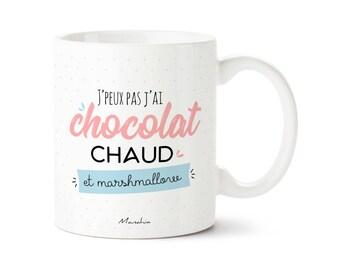 Mug I can't I have hot chocolate and marshmallow bear mug, Christmas mug, mug cocooning, Christmas gift, gift girlfriend