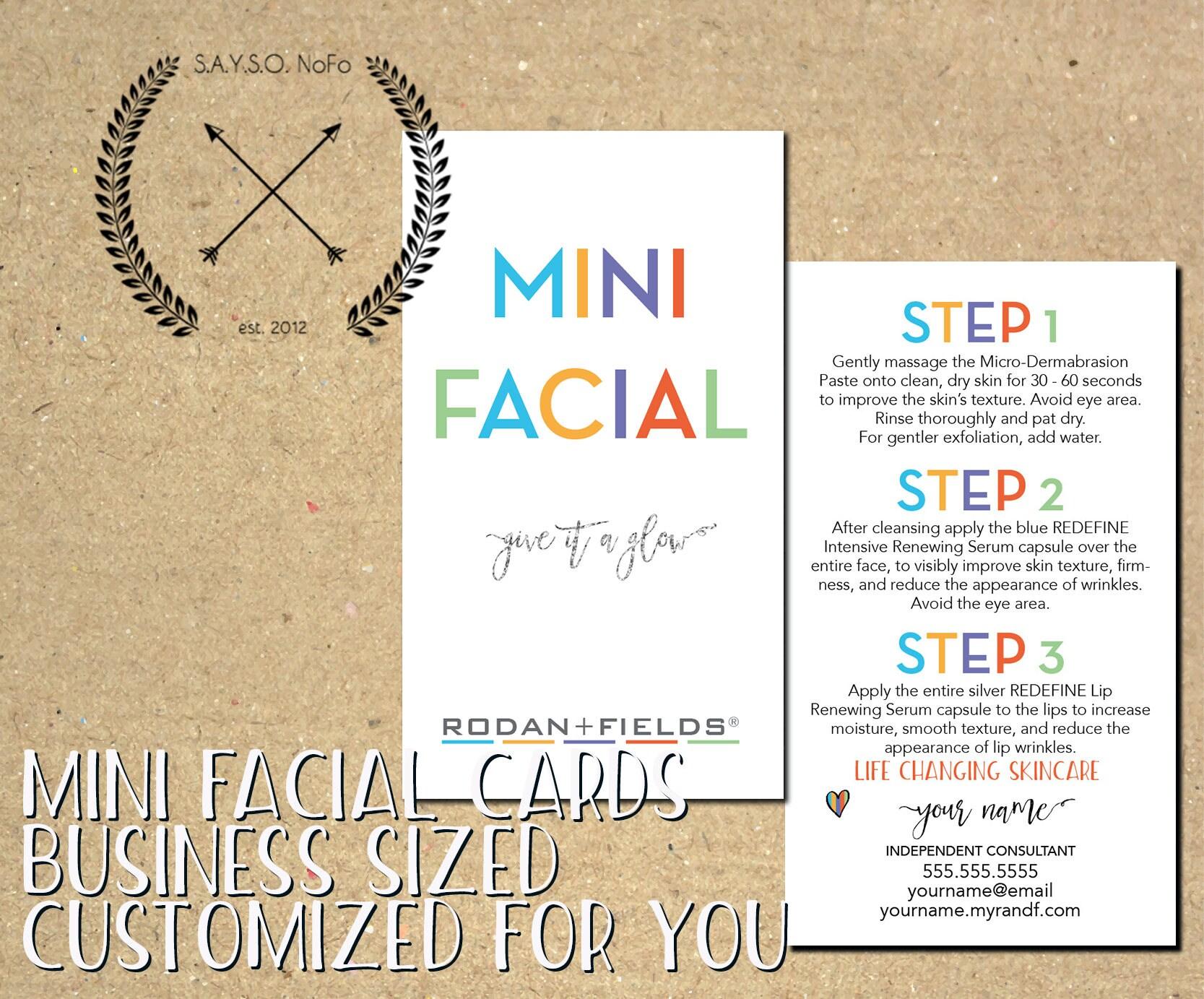 rodan fields custom mini facial cards business materials