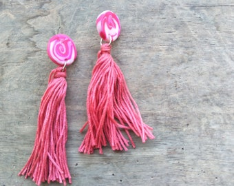 Long Tassel Studs - Pink Swirls