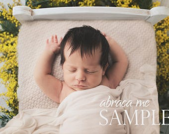 newborn digital background/yellow flower white bed newborn digital backdrop/instant download