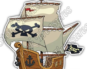 Pirate Boat Ship Skull Crossbones Jolly Roger Car Bumper Vinyl Sticker Decal