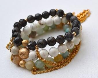 Neutrals Gemstone Tassel Chain Stretch Bracelets // Gold Filled // Stainless Steel Chain // Elastic Bracelets Set