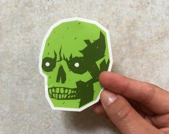El hombre con la calavera verde or The Man with the green skull sticker by Alexander Fechner