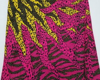 Pink & Yellow African Fabric; Ankara Fabric; African Clothing; African Fabric in yard; African Headwrap;Ankara Fabric in yards; Pink Fabric