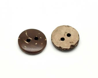 200 coconut wood button coconut buttons Brown, 13 mm