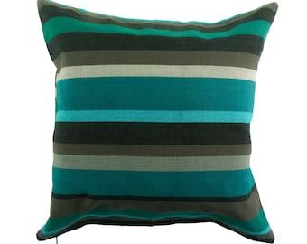 Pillowcase of happy stripes - fair trade cotton, 50x50cm, petrol, grey