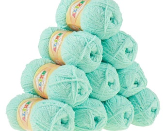 10 x 50 g soft yarn fluffy wool SOFTY by ALIZE #669 light turquoise