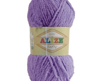 10 x 50 g soft yarn fluffy wool SOFTY by ALIZE No. 42 purple