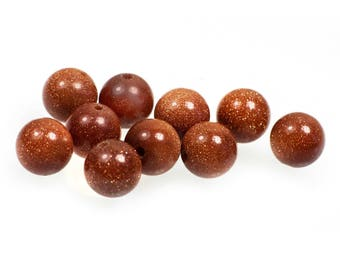 10 high-quality Gold River gold stone bead, 6 mm, Brown sand