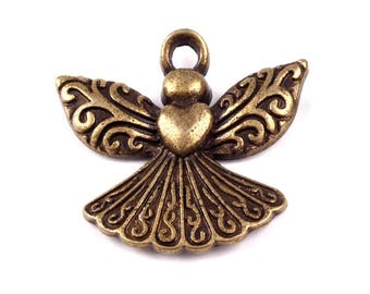 20 pendant Angel, guardian angel, 20 x 22 mm Brass