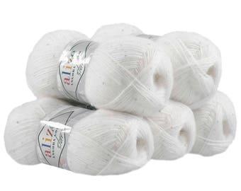 5 x 100 g sequin yarn ANGORA white GOLD STAR #55