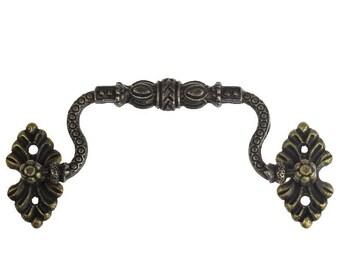 10 drawer handles, 115 x 42 mm, antique brass