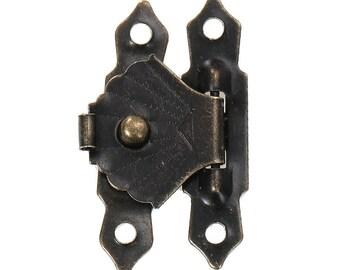 50 x lock for boxes etc., 30 mm x 18 mm, antique Bronze