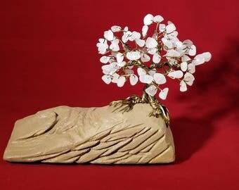 Rose Quartz Wire Tree Sculpture