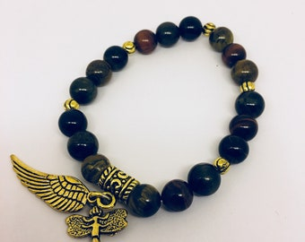 Tiger Eye, red,blue and brown with antique gold angel wing and dragonfly - made to order - created and made by me!