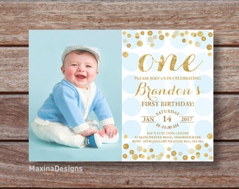 First Birthday Invitation Boy 1st Birthday Blue and Gold Glitter Invite, Sky Blue confetti invitation, Printable blue photo invite