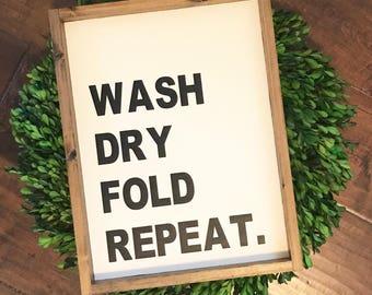 Wash Dry Fold Repeat // Laundry Room Decor // Wood Framed Sign // Farmhouse Decor // Rustic Farmhouse Style // Fixer Upper // Laundry