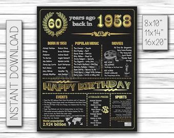 60th Birthday Poster, 1958 Birthday, 60th Birthday Party, Chalkboard Poster, 1958 Events Poster, 60 Year Birthday, Printable DIGITAL FILE