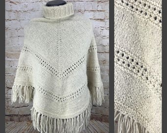 70's Cream White Knit Poncho - Wool Poncho - Wool Sweater