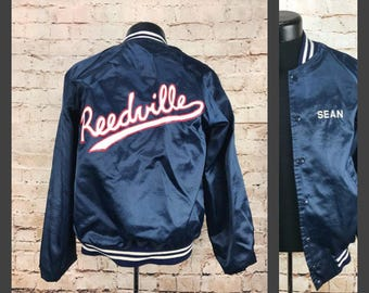 Vintage Reedville Snap Jacket -  Bomber Jacket - Men's Small Windbreaker with the name Sean embroidered - Baseball Jacket Size Small - Nylon