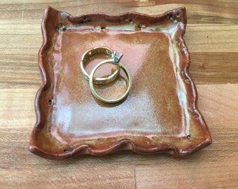 Ceramic Ring Dish / Handbuilt Stoneware Ring Dish / Trinket Holder / Dish for Tiny Treasures / Shower Favor / Bridesmaid Gift