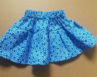Blue Polka Dot Twirl Skirt - 3 months