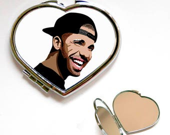 Drake singer Square or Heart Shape Compact Mirror, Handbag mirror, Accessories, Make Up Mirror, Gift, Present