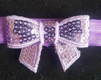 Lavender small sequin bow headband