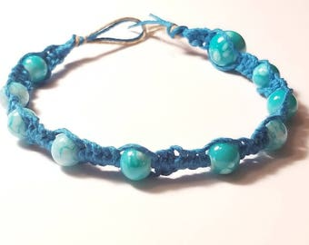 Blue hemp blue beaded bracelet
