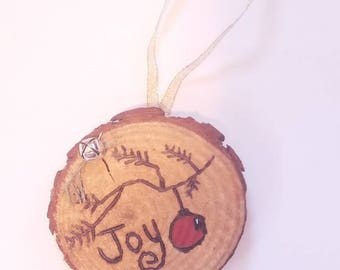 Wood burned joy ornament