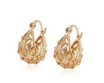 Veneziano GOLD Hoops - High quality hoops, 18k Rose Plated hoops, Gold hoops, Simple Hoop Earrings, tiny gold hoops Wedding-Gift-Jewelry