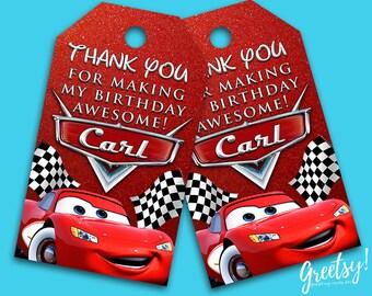Disney Cars Thank You Tags, Disney Cars Birthday Favor Tags, Disney Cars Party Tags, Disney Cars Tags, Disney Cars Printables, Cars Movie