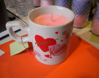 Tea Cup Soy Candle with Essential Oil Hand Crafted All Natural Scent: Rosemary in a Hearts/Kisses Coffee Mug