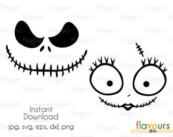 Jack Skellington And Sally SVG Files - INSTANT DOWNLOAD - For Cutting or Iron on - Clipart in Svg, Eps, Dxf, Png, and Jpeg