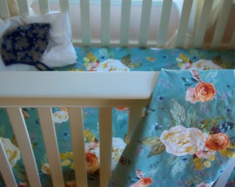 FLORAL CRIB BEDDING. Floral Crib Sheet. Flowers baby bedding. Floral baby blanket. Blanket for baby. Crib Bedding. Bedding for baby.