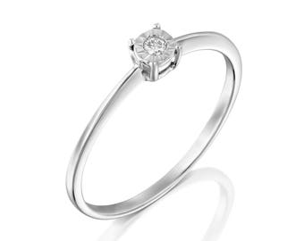 0.03 Ct Diamond Engagement ring in 18k White gold, diamond ring, gold diamond ring, engagement ring, solitaire ring, unique gift, Wedding