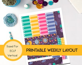Rad Eclipse ERIN CONDREN VERTICAL Weekly Printable Planner Sticker Kit