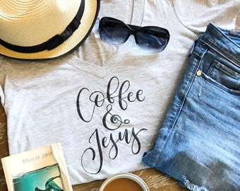 Women's tshirt, Womens Tshirt, Womens shirts, Gift for her, Women's shirt, Coffee & Jesus shirt, Coffee shirt, Coffee lover shirt, Mom shirt