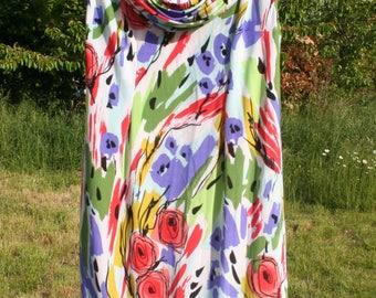 Dress women summer dress.  Floral dress. Tissue fluid stretch. Size XL. Year 80 s. French vintage.