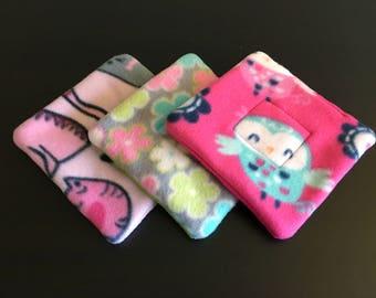 Set of (3) Three 7x7 Fleece pee pad, corner pad, potty pad, Guinea pig, hedgehog, chinchillas, rat