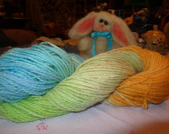 Shelia's 1 of a Kind Wool yarn Dyed with Easter eggs colors
