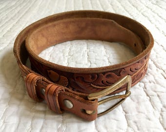 """32"""" Waist Vintage Tooled Leather Brown Belt with Solid Bronze Buckle"""