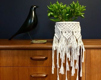 Macrame Plant Pot Wrap, Mini Wall Hanging, Nursery Hanging, Prototype Sale