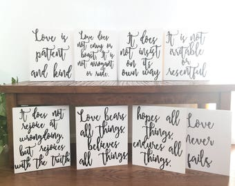 Love Is Patient Love Is Kind 1 Corinthians 13 Wedding Signs WHITE